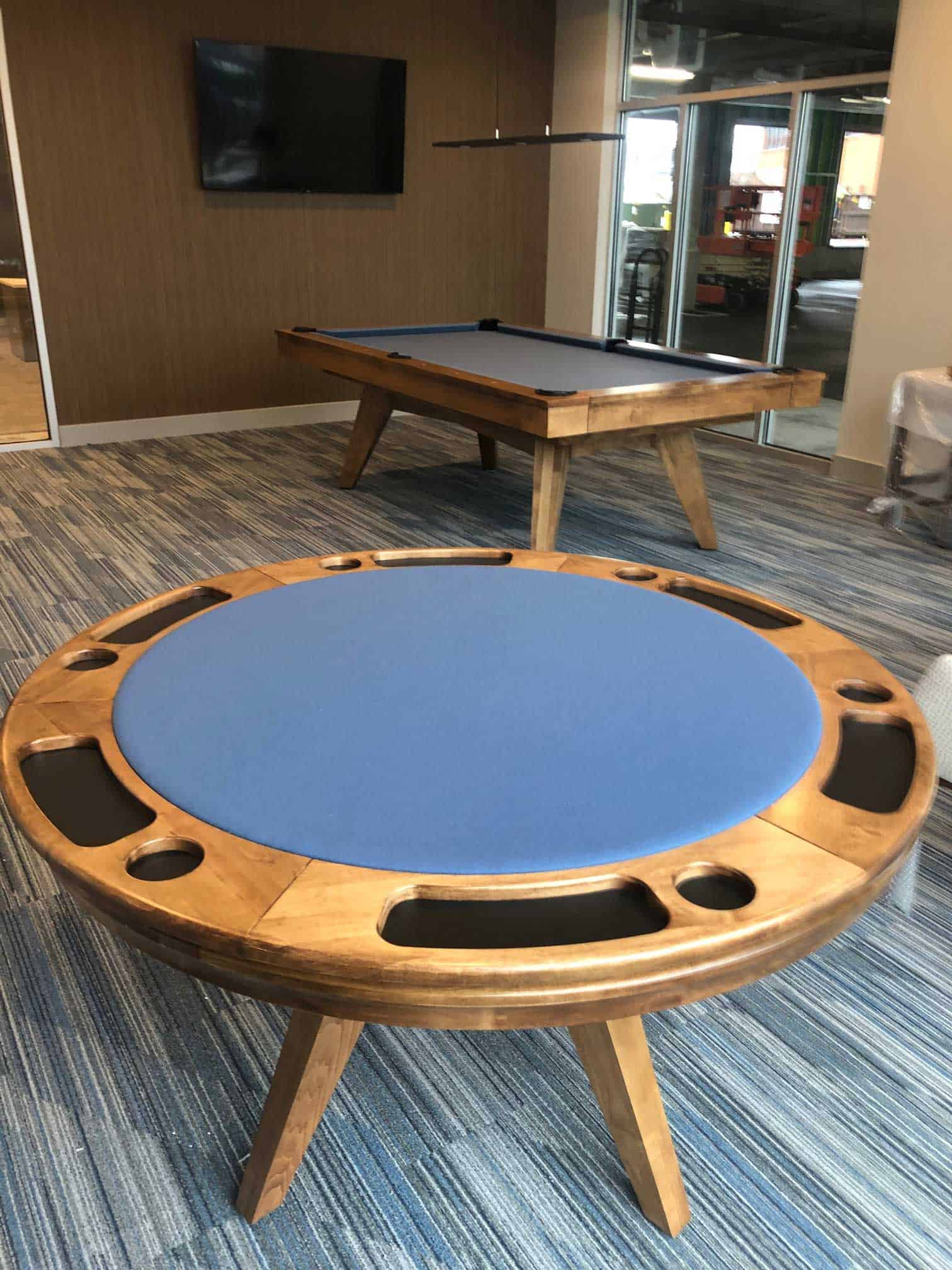 blue felt poker table and a pool table in fairfield ct