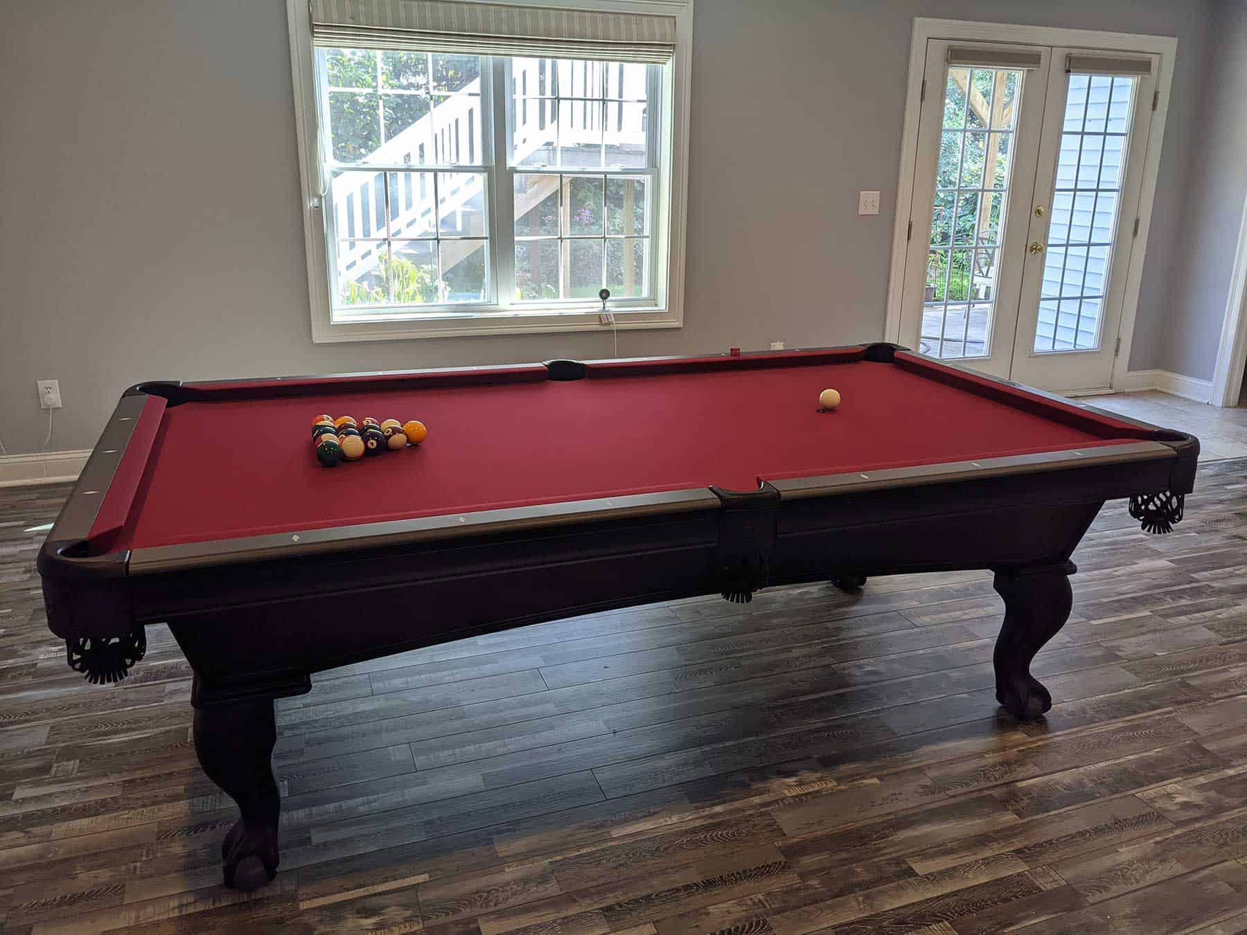 red cloth pool table in shelton