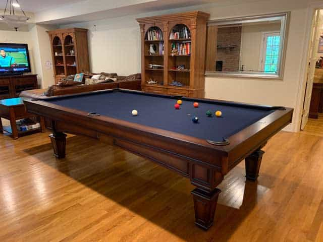 pool table with blue cloth in stamford